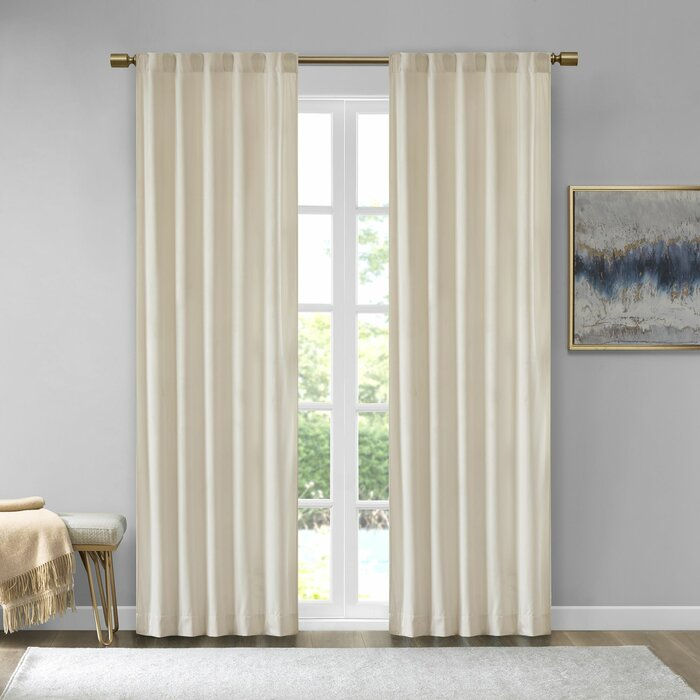 Aurora Poly Velvet Solid Room Darkening Rod Pocket/tab Top Curtain Panels Within Bark Weave Solid Cotton Curtains (View 3 of 50)