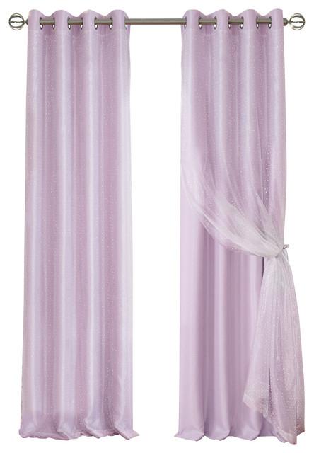 "Aurora Woven Blackout Sheer Overlay Window Panel, Lavender, 52""x63"" With Elrene Aurora Kids Room Darkening Layered Sheer Curtains (View 6 of 40)"