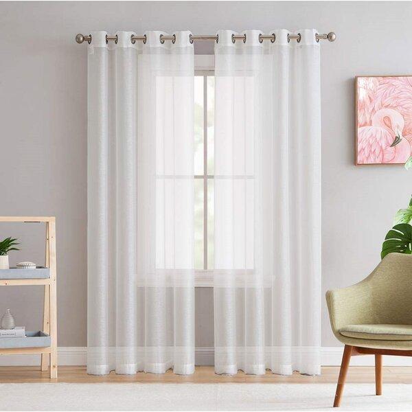 Aviana Light Filtering Solid Semi Sheer Single Curtain Panel Inside Light Filtering Sheer Single Curtain Panels (#3 of 38)