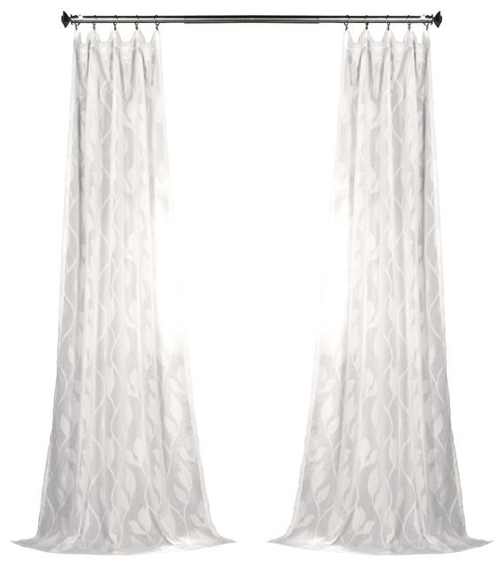 "Avignon Vine Patterned Faux Linen Sheer Curtain Single Panel, 50"" X 84"" In Heavy Faux Linen Single Curtain Panels (View 2 of 32)"