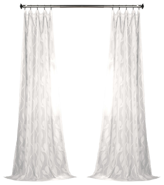 "Avignon Vine Patterned Faux Linen Sheer Curtain Single Panel, 50"" X 84"" Pertaining To Ombre Faux Linen Semi Sheer Curtains (View 31 of 50)"