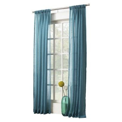 "Avril Crushed Sheer Rod Pocket Curtain Panel Marine 50""x95 Intended For Ladonna Rod Pocket Solid Semi Sheer Window Curtain Panels (View 4 of 47)"