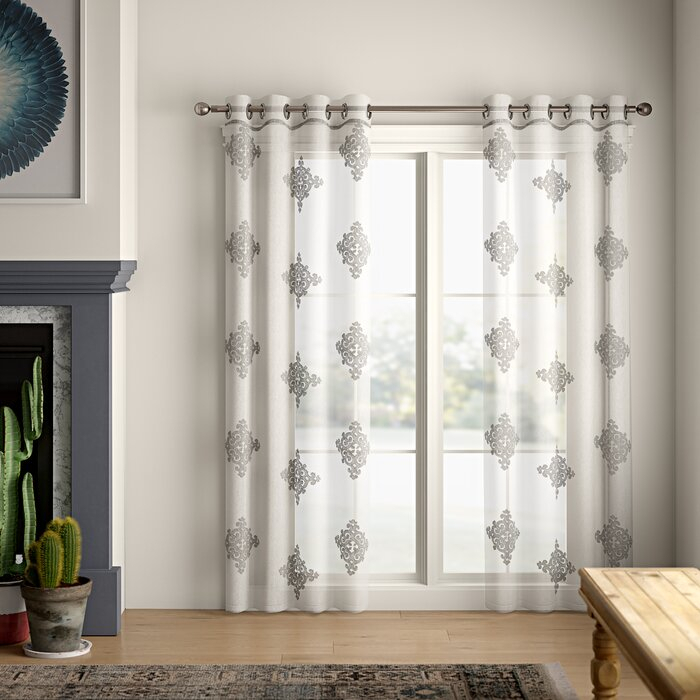 Azaria Lightweight Damask Sheer Grommet Curtain Panel Intended For Pastel Damask Printed Room Darkening Grommet Window Curtain Panel Pairs (#7 of 50)