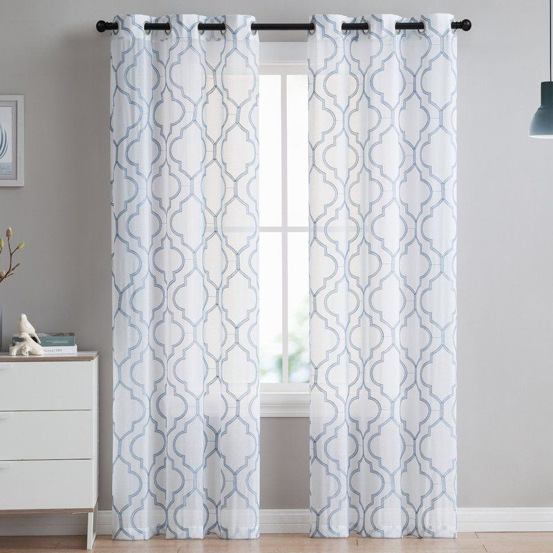 Bailey Embroidered Trellis Geometric Semi Sheer Grommet In Softline Trenton Grommet Top Curtain Panels (View 41 of 50)