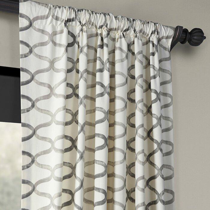 Balfour Graphic Printed Room Darkening Rod Pocket Single Curtain Panel Pertaining To Grey Printed Curtain Panels (View 5 of 48)