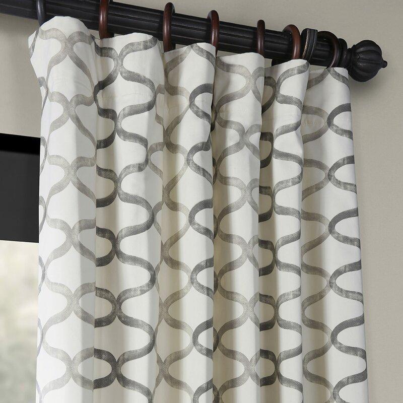 Balfour Graphic Printed Room Darkening Rod Pocket Single Curtain Panel Regarding Grey Printed Curtain Panels (View 6 of 48)