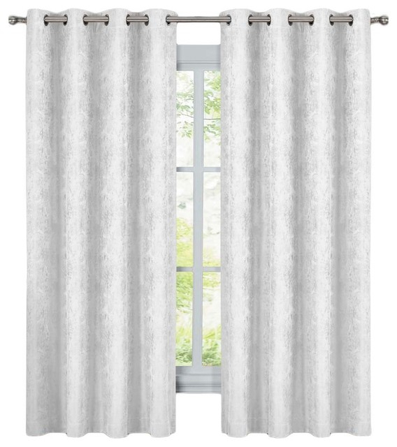 "Bali 2Pc Blackout Abstract Grommet Curtains, White, 108""x63"" Inside Abstract Blackout Curtain Panel Pairs (#8 of 46)"