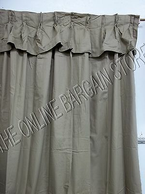 Ballard Designs Pleated Valance Cotton Twill Drapes Panels Curtains Bark  54X120 | Ebay In Bark Weave Solid Cotton Curtains (View 4 of 50)