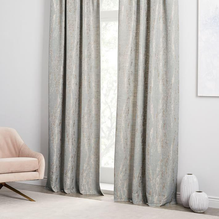 Bark Texture Jacquard Dusty Blue Curtain Throughout Bark Weave Solid Cotton Curtains (View 5 of 50)