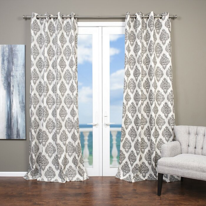 Baroque Ikat; Damask Semi Sheer Grommet Single Curtain Panel Throughout Baroque Linen Grommet Top Curtain Panel Pairs (View 8 of 48)