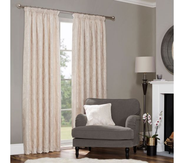 Baroque Natural Damask Pencil Pleat Thermal Curtains (Pair Pertaining To Baroque Linen Grommet Top Curtain Panel Pairs (View 9 of 48)