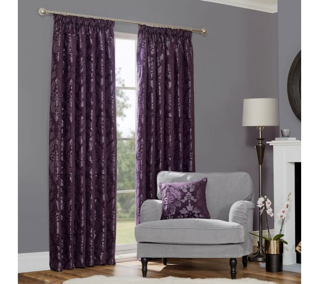 Baroque Plum Damask Pencil Pleat Thermal Curtains (Pair) In Baroque Linen Grommet Top Curtain Panel Pairs (View 10 of 48)