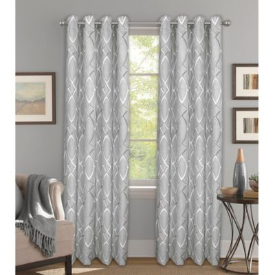 """Bastille Lattice 108"""" Grommet 100% Blackout Window Curtain Throughout The Curated Nomad Duane Jacquard Grommet Top Curtain Panel Pairs (#3 of 50)"""