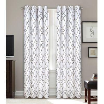 "Bastille Lattice 95"" Grommet 100% Blackout Window Curtain With Fretwork Print Pattern Single Curtain Panels (View 12 of 46)"