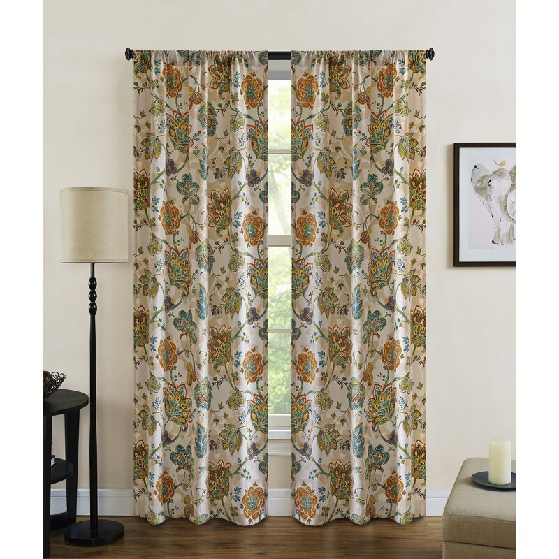 Baumgarten Nature/floral Semi Sheer Rod Pocket Curtain Panels With Regard To Rod Pocket Curtain Panels (View 4 of 34)