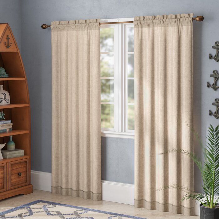 Baylee Faux Linen Solid Sheer Rod Pocket Curtain Panels Pertaining To Ombre Faux Linen Semi Sheer Curtains (View 20 of 50)