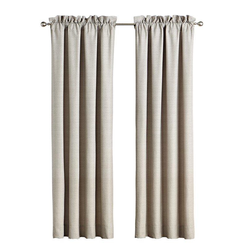 Baylen Pole Top Solid Color Blackout Rod Pocket Curtain Panels Inside Hayden Rod Pocket Blackout Panels (View 10 of 43)