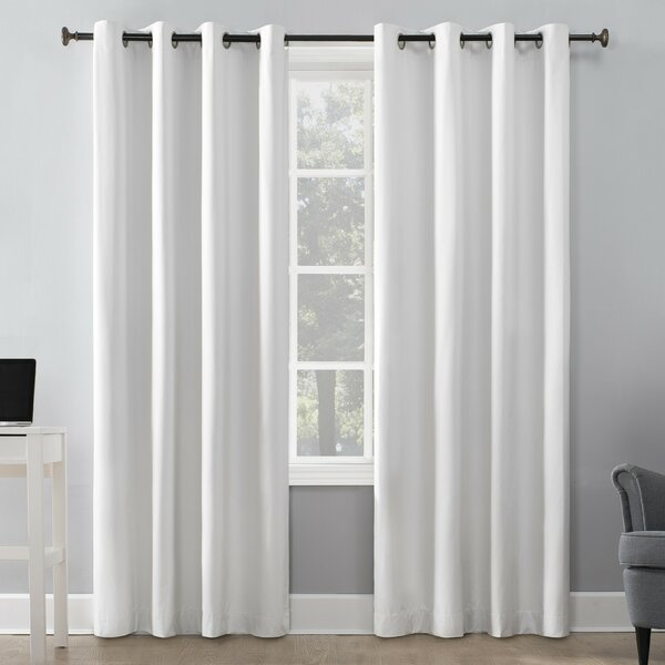 Beach House Curtains | Wayfair With Forest Hill Woven Blackout Grommet Top Curtain Panel Pairs (#7 of 45)