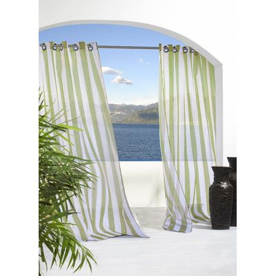 Beachcrest Home Odessa Striped Sheer Outdoor Grommet Single With Regard To Patio Grommet Top Single Curtain Panels (#3 of 38)