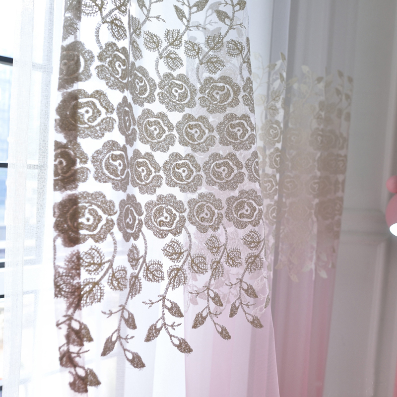 Beautiful Ombre Pink Floral Embroidery Sheer Curtains For Within Ombre Embroidery Curtain Panels (View 33 of 50)