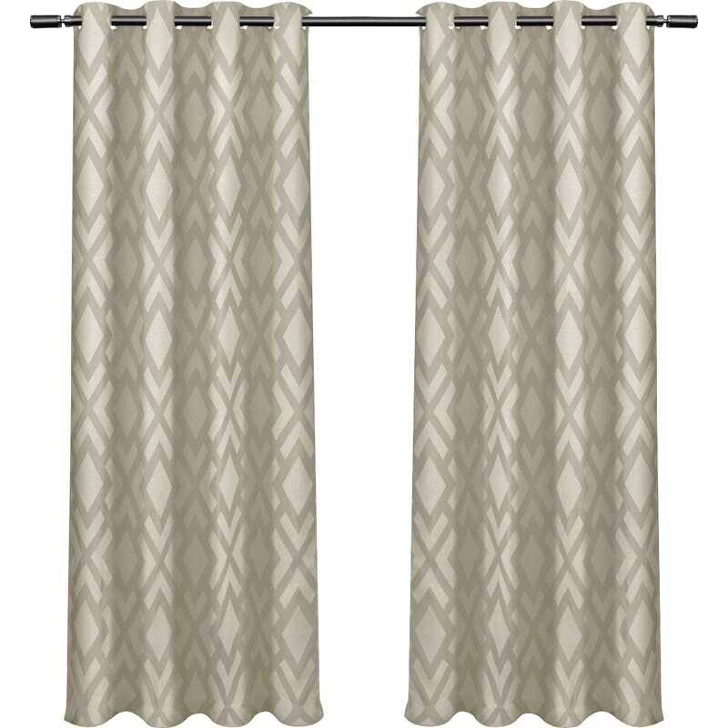 Bedelia Geometric Max Blackout Grommet Curtain Panels With Julia Striped Room Darkening Window Curtain Panel Pairs (#3 of 37)