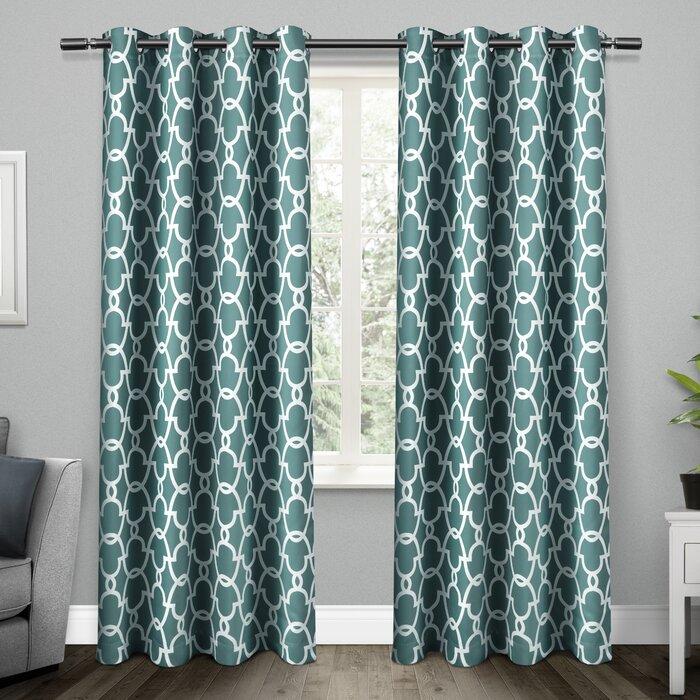 Bedelia Geometric Room Darkening Thermal Grommet Curtain Panels For Geometric Print Textured Thermal Insulated Grommet Curtain Panels (View 3 of 45)