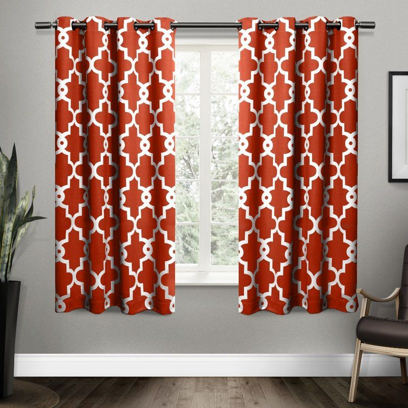 Bedelia Ironwork Room Darkening Curtain Panels | Kitchen Pertaining To The Curated Nomad Duane Jacquard Grommet Top Curtain Panel Pairs (#4 of 50)