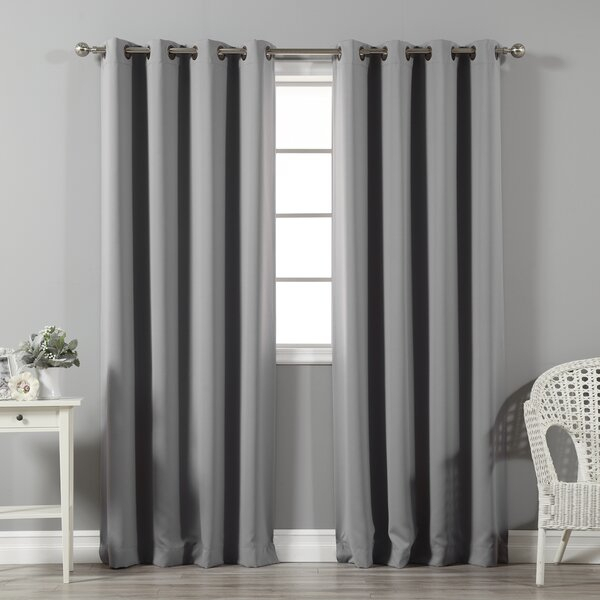 Beige And Gray Curtains | Wayfair Intended For Superior Leaves Insulated Thermal Blackout Grommet Curtain Panel Pairs (View 7 of 50)