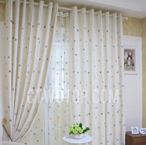 Beige Kids Cute Snowflake Curtains Embroidery Panels With Sheer Throughout Kida Embroidered Sheer Curtain Panels (#5 of 50)