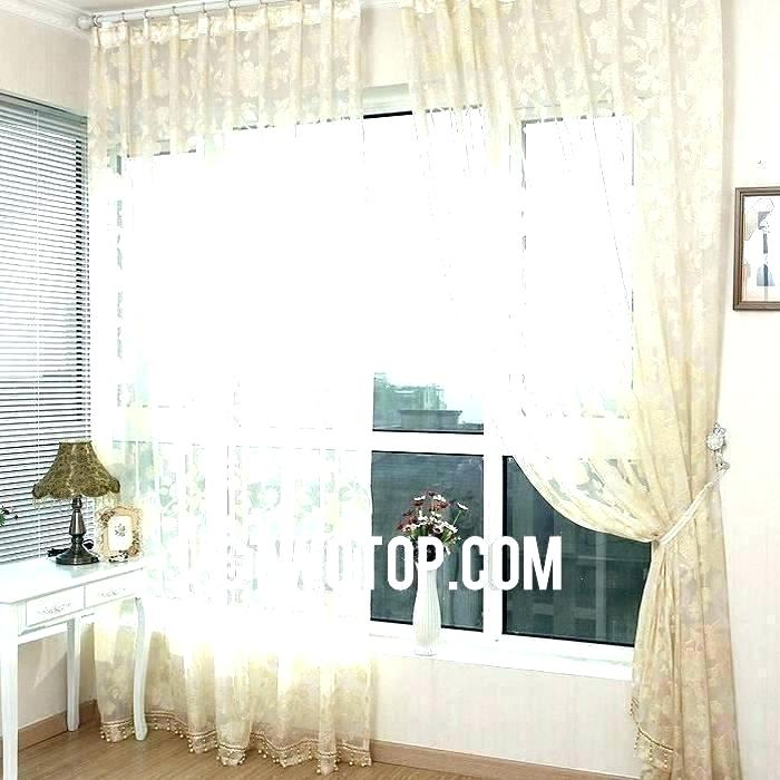Beige Sheer Curtains – Goretro In Wavy Leaves Embroidered Sheer Extra Wide Grommet Curtain Panels (#5 of 50)
