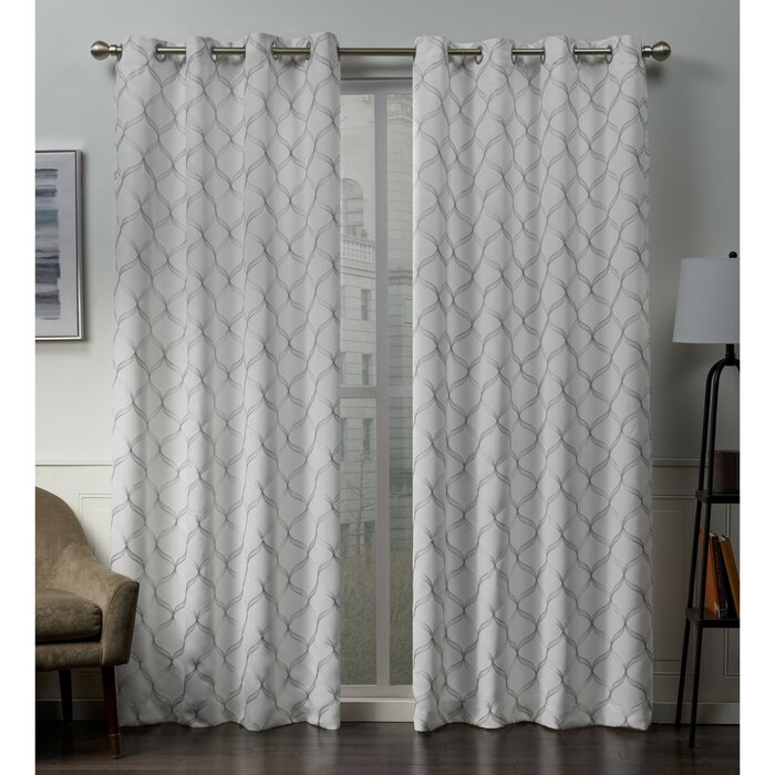 Belisle Embroidered Geometric Blackout Thermal Grommet Curtain Panels Throughout Blackout Grommet Curtain Panels (View 7 of 40)