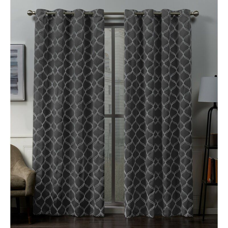 Belisle Embroidered Geometric Blackout Thermal Grommet With Easton Thermal Woven Blackout Grommet Top Curtain Panel Pairs (#7 of 44)