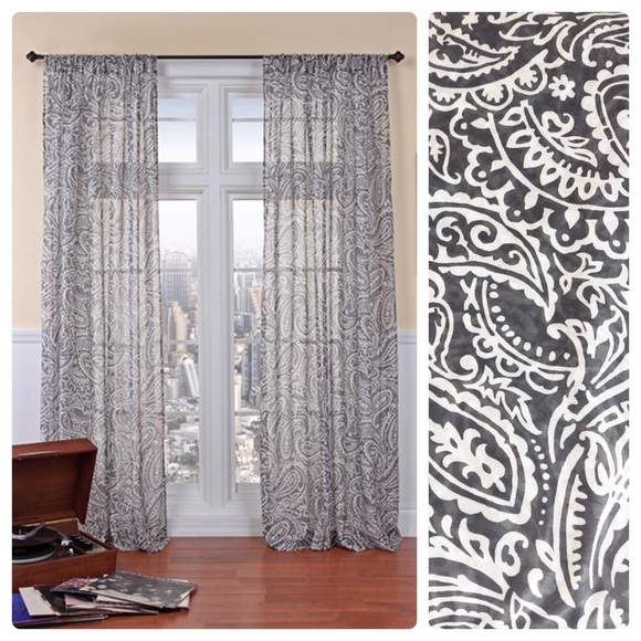 Belle Maison 2 Paisley Print Curtain Panels In Grey Printed Curtain Panels (View 7 of 48)