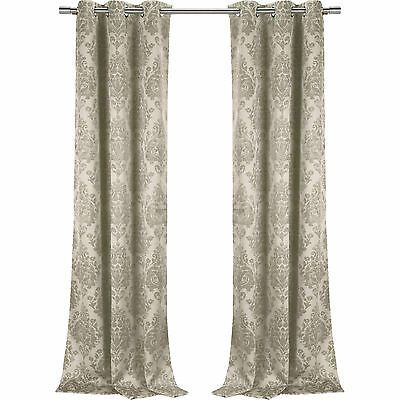 Bentley Damask Blackout Grommet Curtain Panel Pairs (2 Sets Pertaining To Twig Insulated Blackout Curtain Panel Pairs With Grommet Top (#12 of 50)