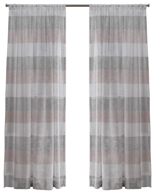 Bern Stripe Sheer Rod Pocket Window Curtain Panel Pair, 54X108, Blush In Tassels Applique Sheer Rod Pocket Top Curtain Panel Pairs (View 6 of 45)