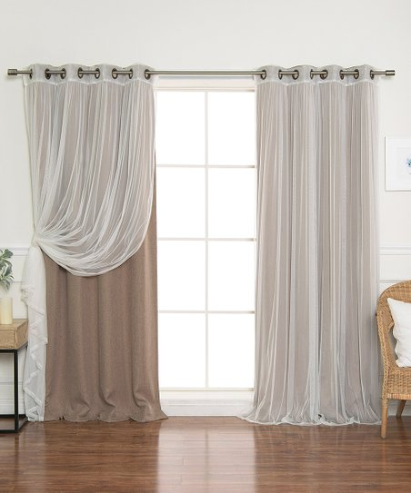 Best Home Fashion Cocoa Tulle & Linen Blackout Curtain Panel Regarding Mix And Match Blackout Blackout Curtains Panel Sets (#18 of 50)