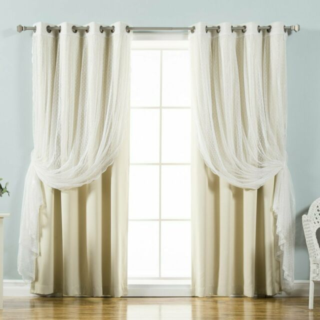 Best Home Fashion Dotted Tulle Blackout Mix & Match Curtain Panels – Set Of  4 With Mix And Match Blackout Blackout Curtains Panel Sets (#22 of 50)