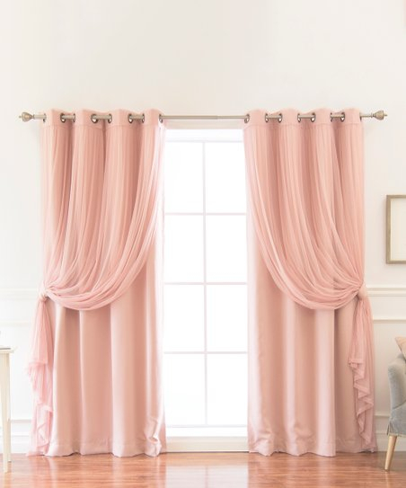 Best Home Fashion Dusty Pink Tulle & Blackout Curtain Panel Intended For Mix And Match Blackout Blackout Curtains Panel Sets (#23 of 50)