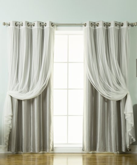Best Home Fashion Gray Tulle Lace & Faux Silk Blackout Within Mix And Match Blackout Tulle Lace Sheer Curtain Panel Sets (#16 of 50)