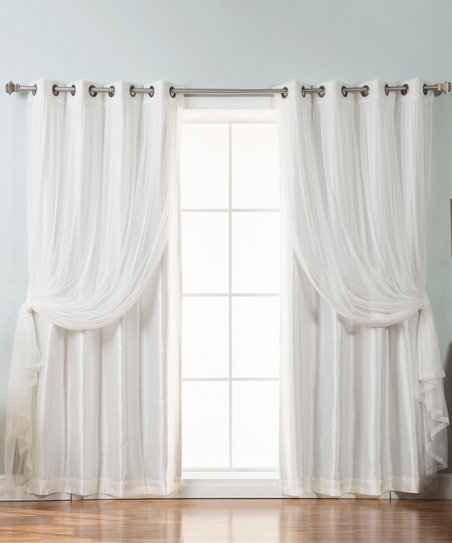 Best Home Fashion Ivory Tulle Lace & Faux Silk Blackout Curtain Panel Set Regarding Mix And Match Blackout Tulle Lace Sheer Curtain Panel Sets (#17 of 50)