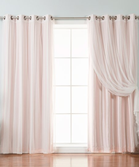 Best Home Fashion Light Pink Tulle & Blackout Curtain Panel Intended For Mix And Match Blackout Blackout Curtains Panel Sets (#24 of 50)