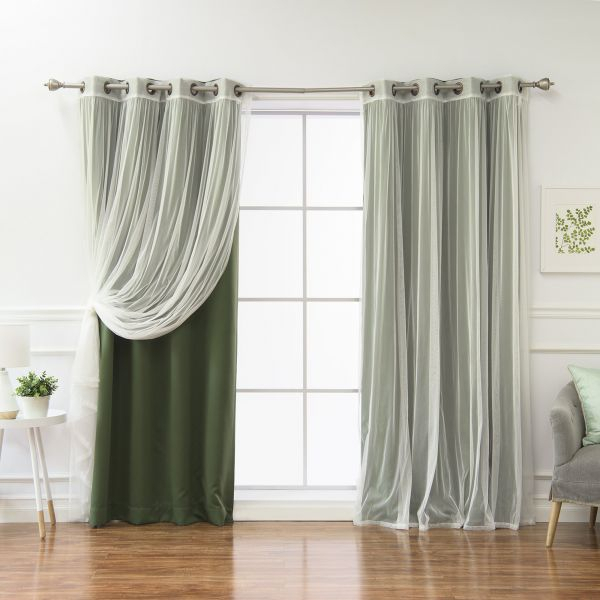 Best Home Fashion Mix And Match Tulle Sheer Lace And Pertaining To Mix And Match Blackout Tulle Lace Sheer Curtain Panel Sets (#27 of 50)