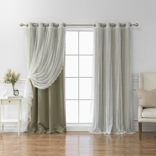 """Best Home Fashion Mix & Match Dotted Tulle Lace & Solid Blackout Curtain  Set – Antique Bronze Grommet Top – Olive – 52""""w X 96""""l – (2 Curtains And 2 With Mix And Match Blackout Tulle Lace Sheer Curtain Panel Sets (#18 of 50)"""