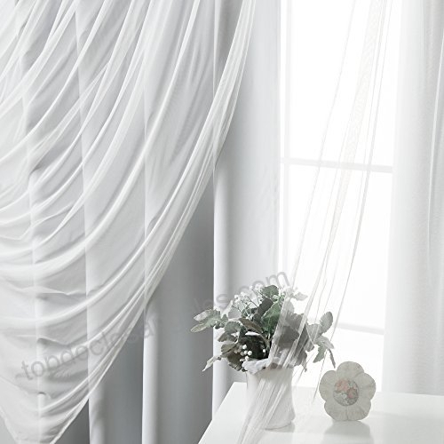Best Home Fashion Mix & Match Tulle Sheer Lace And Blackout Regarding Mix And Match Blackout Tulle Lace Sheer Curtain Panel Sets (#21 of 50)