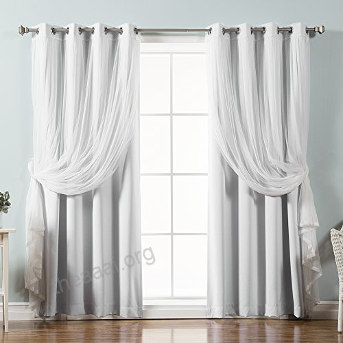 Best Home Fashion Mix Match Tulle Sheer Lace And Blackout With Mix And Match Blackout Tulle Lace Sheer Curtain Panel Sets (#28 of 50)