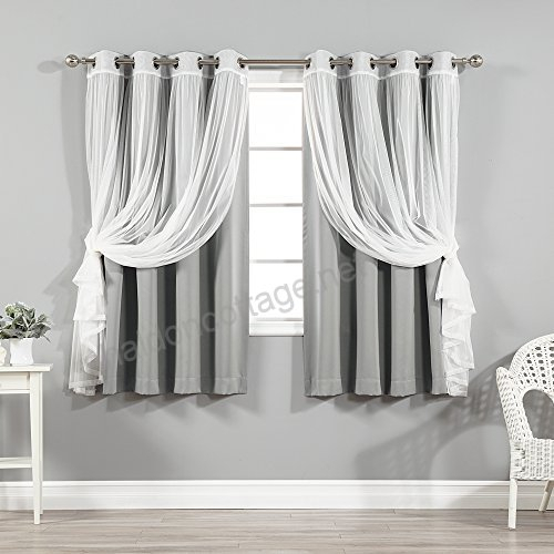 Best Home Fashion Mix & Match Tulle Sheer Lace And Blackout With Regard To Mix And Match Blackout Tulle Lace Sheer Curtain Panel Sets (#22 of 50)