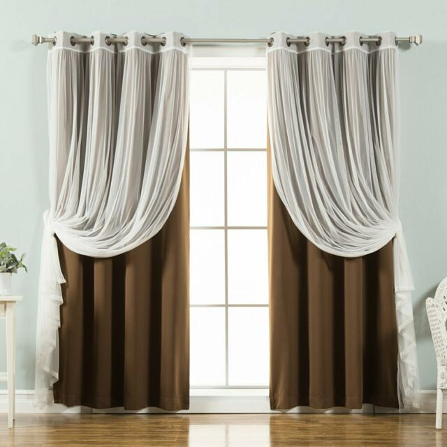 Best Home Fashion Mix & Match Tulle Sheer Lace Blackout Curtain – Set Of 4 In Mix And Match Blackout Tulle Lace Sheer Curtain Panel Sets (#24 of 50)