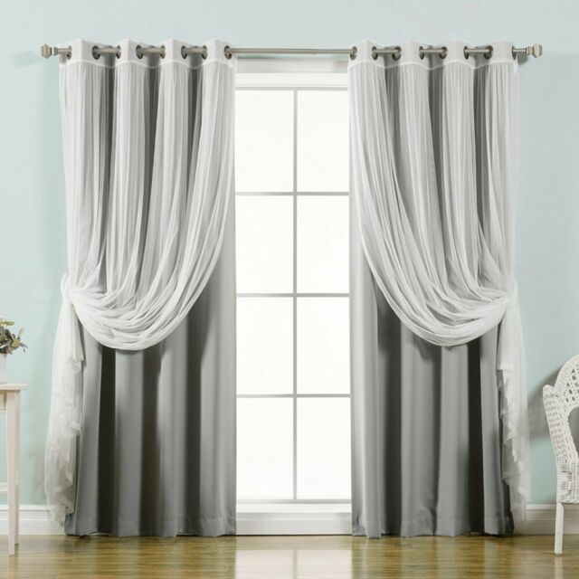 Best Home Fashion Mix & Match Tulle Sheer Lace Blackout Curtain – Set Of 4 Inside Mix & Match Blackout Tulle Lace Bronze Grommet Curtain Panel Sets (View 47 of 50)