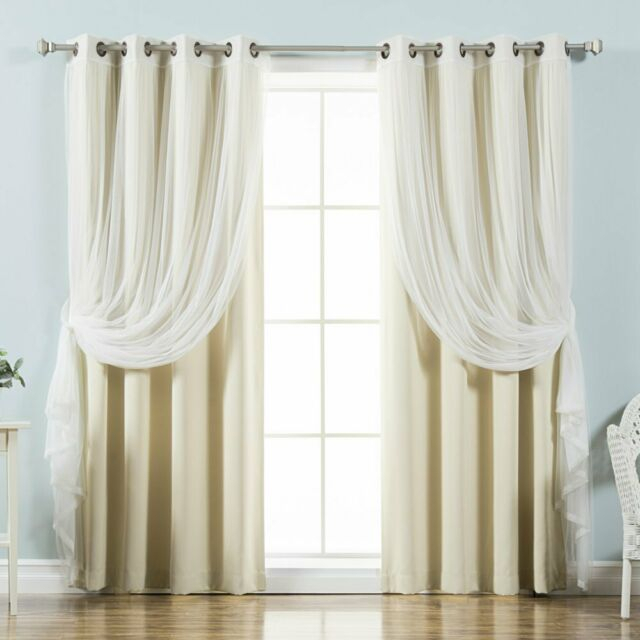 Best Home Fashion Mix & Match Tulle Sheer Lace Blackout Curtain – Set Of 4 Regarding Mix And Match Blackout Tulle Lace Sheer Curtain Panel Sets (#25 of 50)