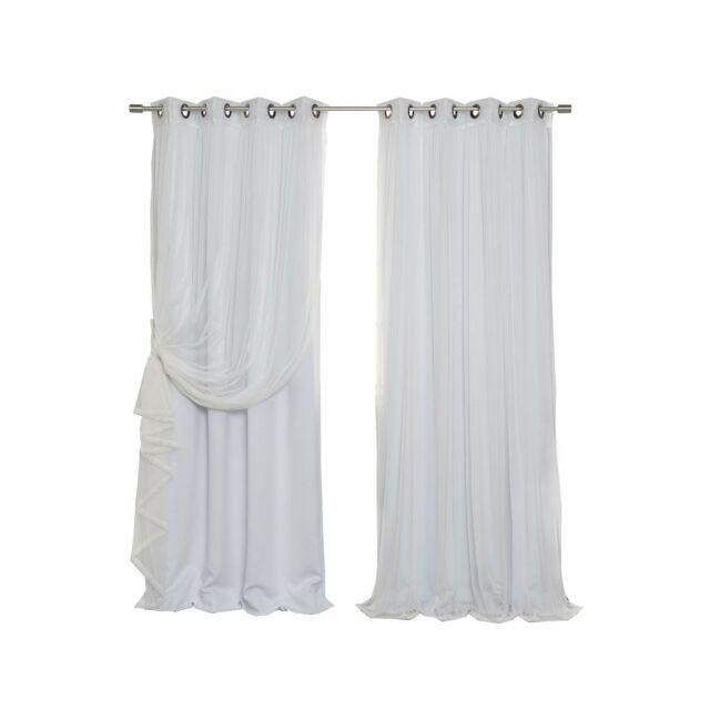 Best Home Fashion Mix & Match Tulle Sheer Lace & Blackout Curtain Set Regarding Mix And Match Blackout Blackout Curtains Panel Sets (#25 of 50)
